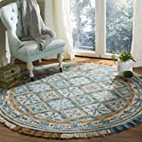 Safavieh Blossom Collection BLM421B Floral Vines Ivory and Teal Premium Wool Round Area Rug (6′ Diameter) Review