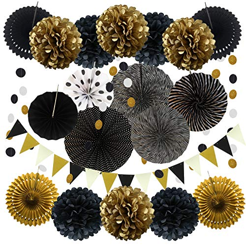 ZERODECO Party Decoration, 21 Pcs Black and Gold Hanging Paper Fans, Pom Poms Flowers, Garlands String Polka Dot and Triangle Bunting Flags for Birthday Parties Wedding Décor, Table & Wall Decorations -