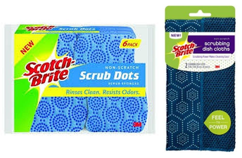 Scotch-Brite Dishwashing Cloths Non-Scratch Scrub Dots Kitchen Scrubber Sponges Bundle