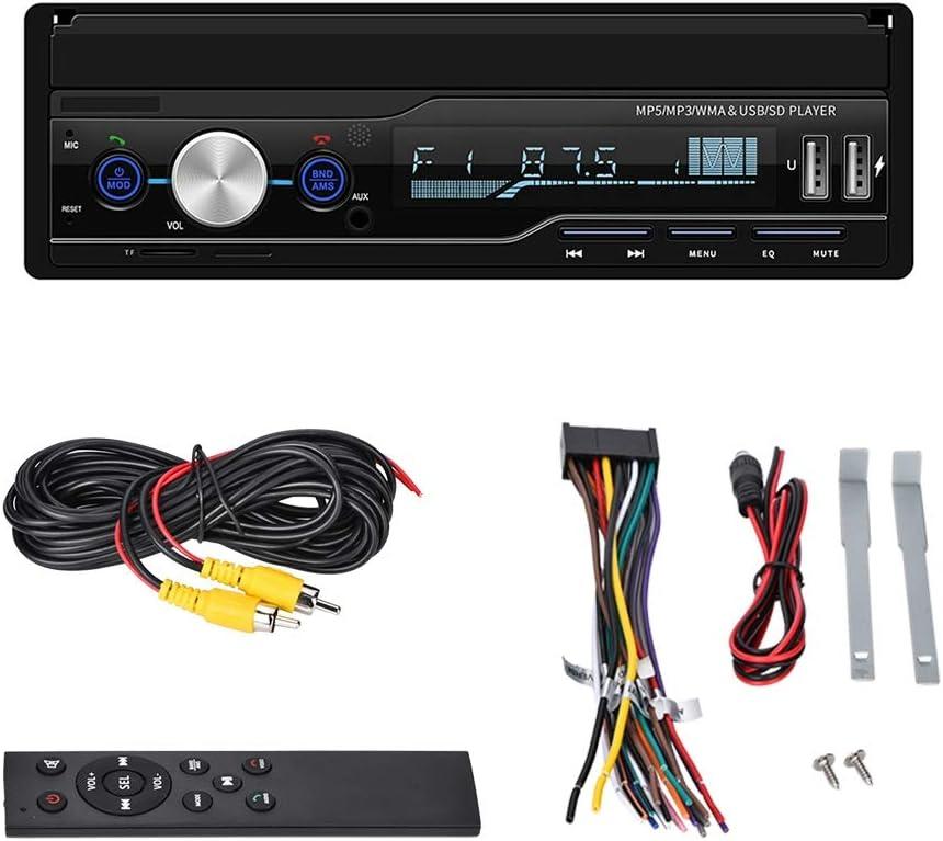 Lecteur st/ér/éo de voiture Bluetooth 4.0 FM//AM//BT//TF//USB//MP5//AUX Commande au volant Multim/édia dautoradio de 7 pouces 2 din avec /écran tactile r/étractable HD Compat Connecteurs de cam/éra invers/ée