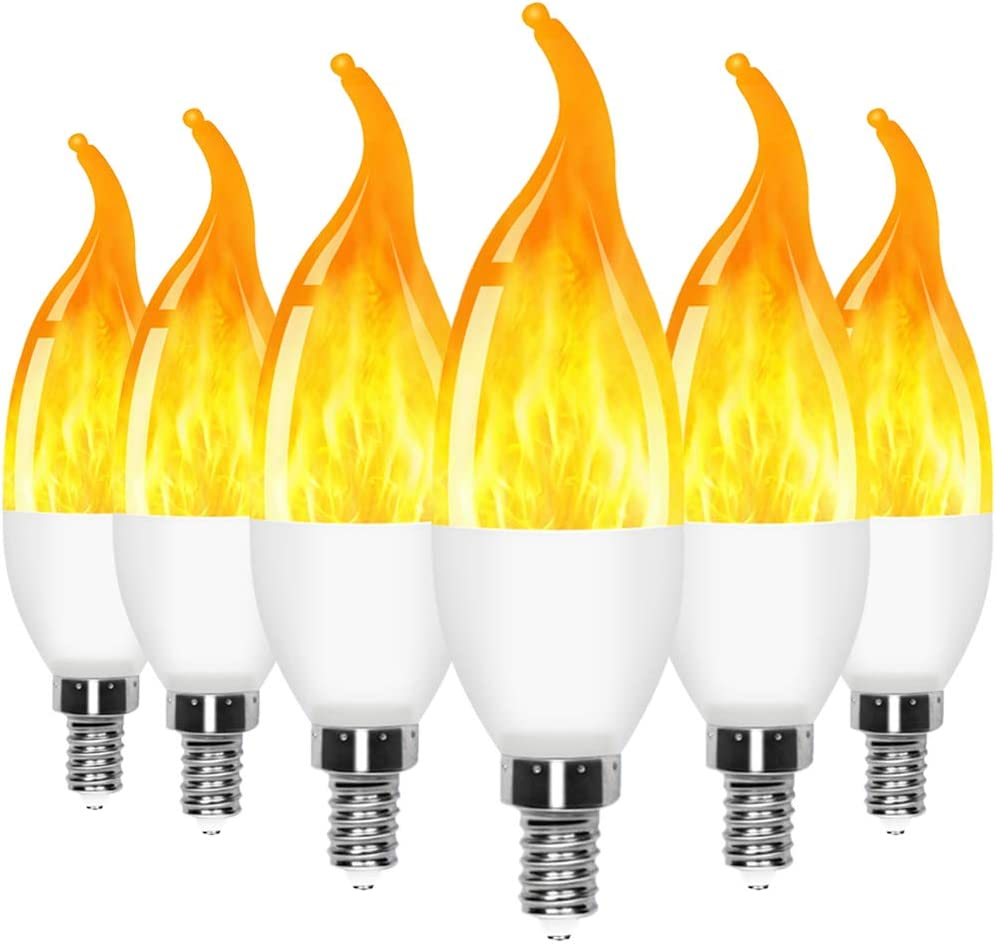 6 Pack E12 LED Flame Effect Candelabra Light Bulbs,3 Mode Flickering Wall Lamp Chandelier Flame Effect Bulb for Christmas Party Decorations Bar Garage Flame Lights