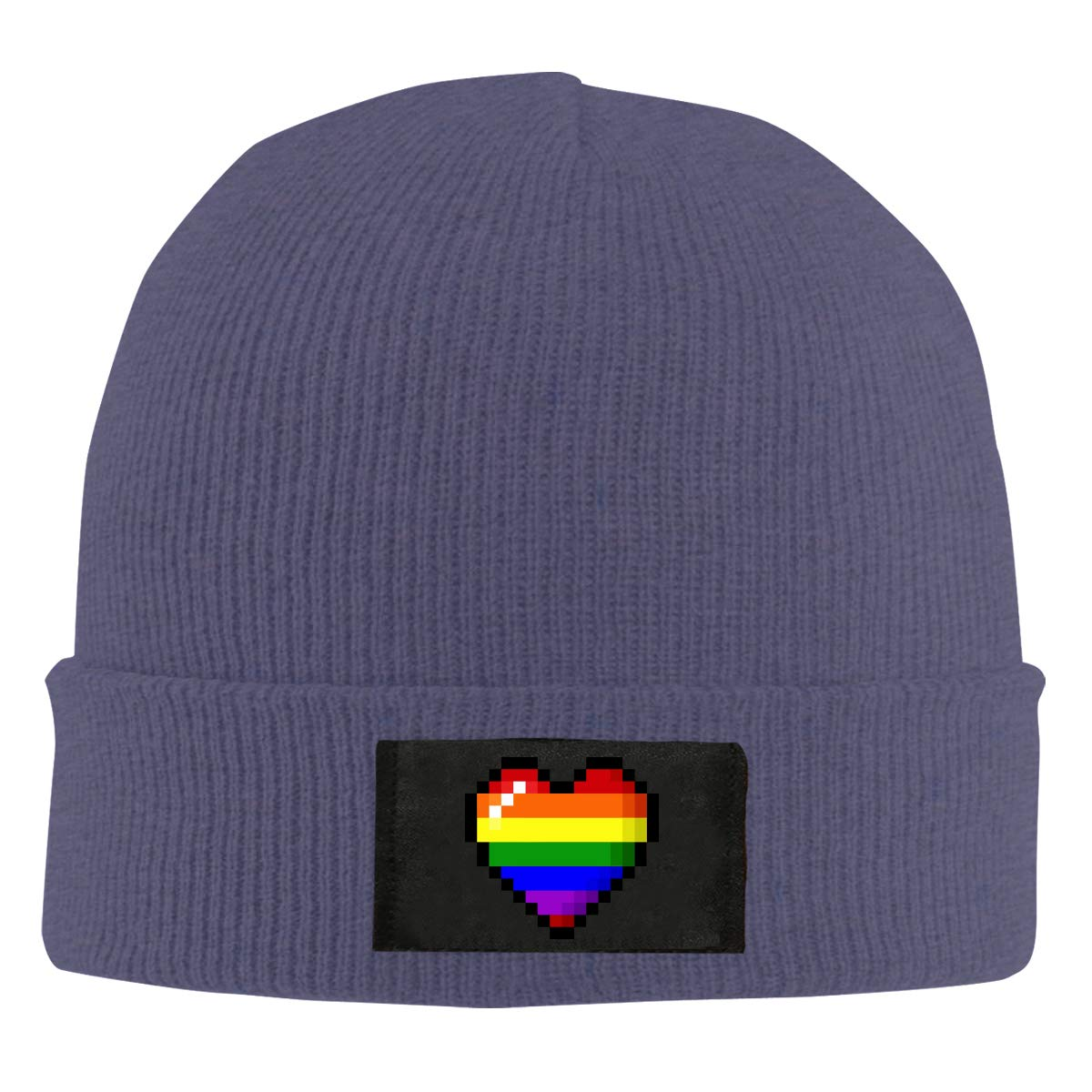 100/% Acrylic Thick Skull Cap Unisex Rainbow Gay Pride Heart Knitted Cap