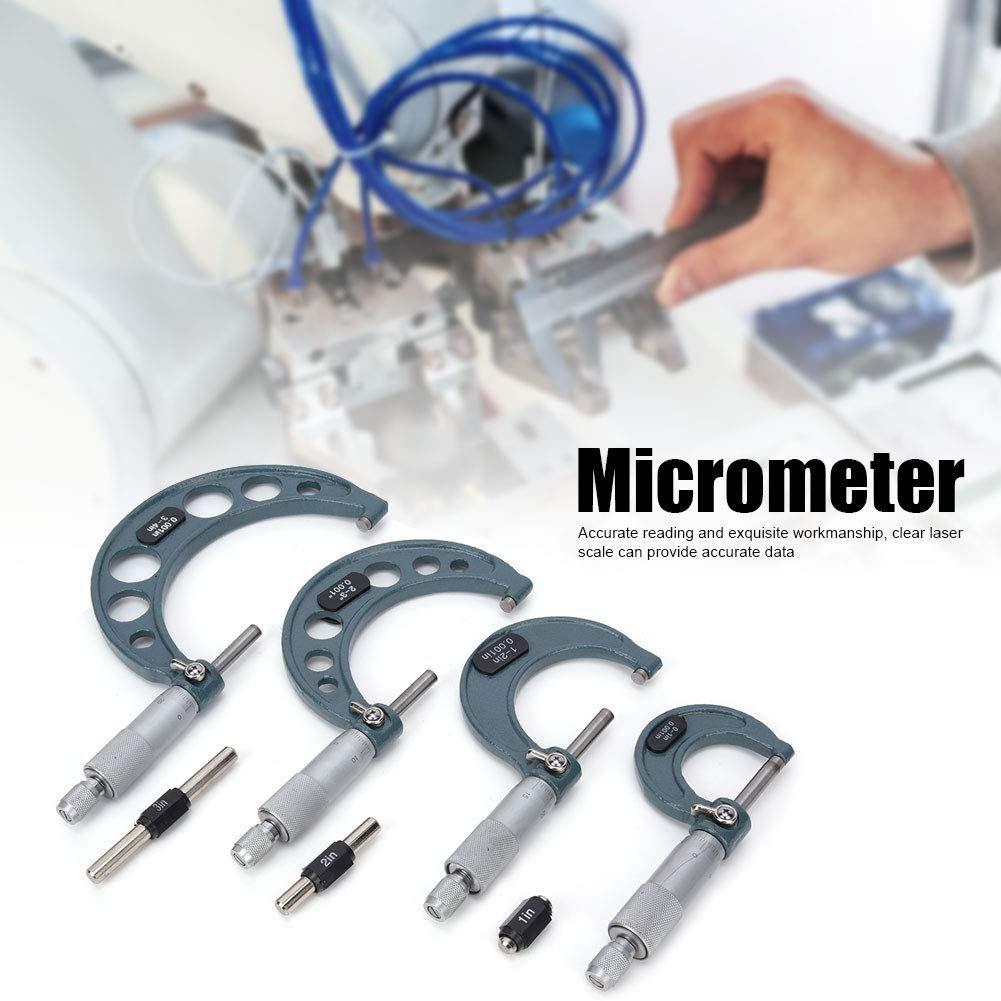 Digital Outside Micrometer,4Pcs 0-4in Imperial Micrometer Outside Diameter High Accuracy Measurement Tool with Wrench