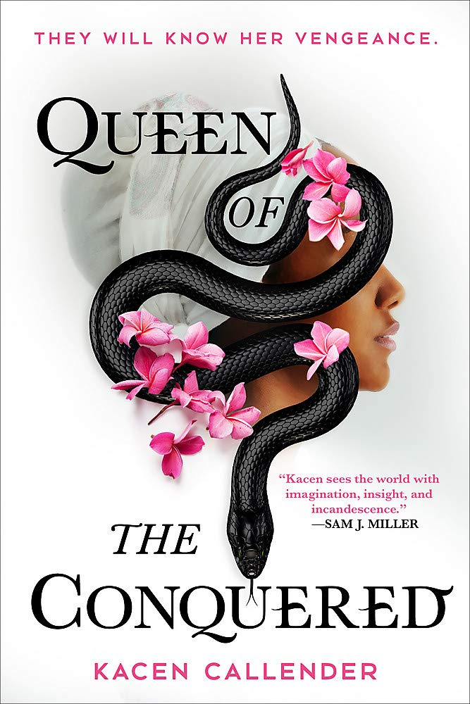 A Black woman in profile with a curving black snake on the side of her face.