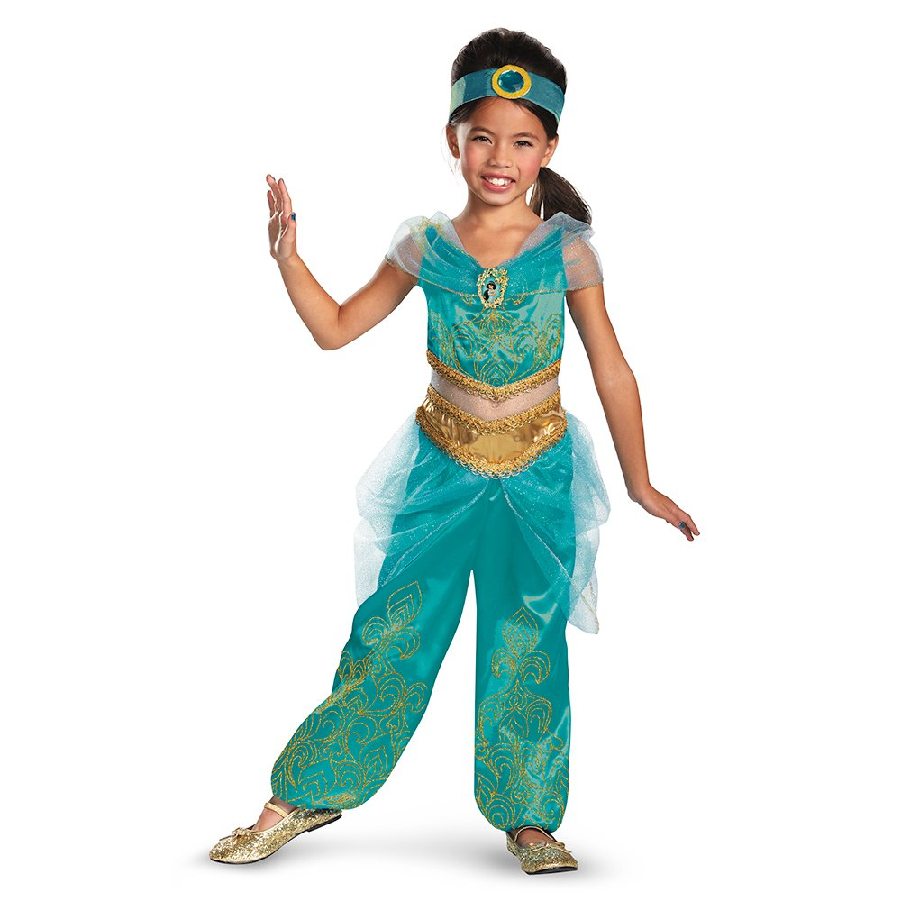 Disguise Disney's Alladin Jasmine Sparkle Deluxe Girls Costume, 3T-4T