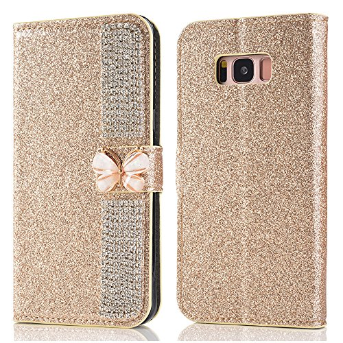 Price comparison product image Wallet Making Elaco Leather Card Magnetic Case Cover For Samsung Galaxy S8 5.8inch/S8 Plus 6.2inch (Gold, S8 5.8inch)