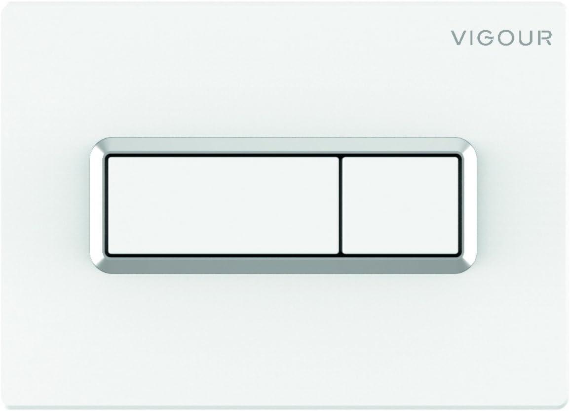 Vigour Plaque de d/éclenchement WC Blanc avec cadre chrom/é