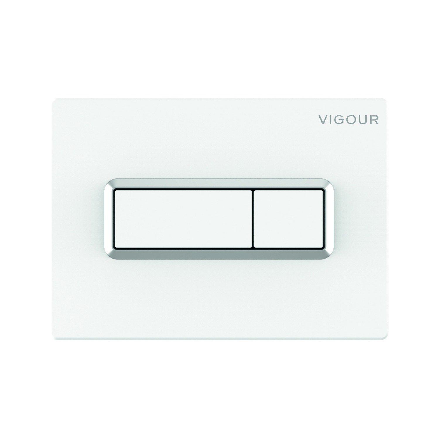 VIGOUR WC-Betätigungsplatte weiß mit Chromrahmen