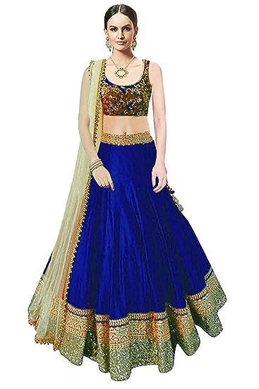0c58b9a1ab Ujas Enterprise Women's Banglory Silk Lehenga Choli (Blue, Free Size ...