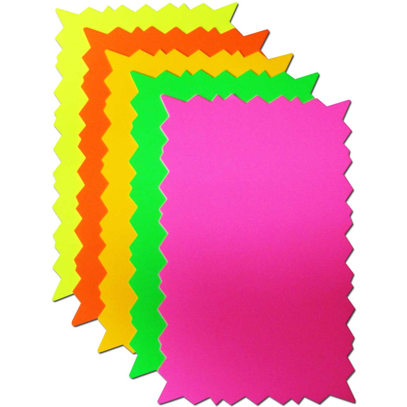Fluorescent Star Rectangle Card Price Tickets Labels