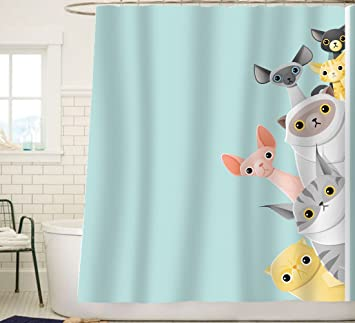 Sunlit Cute Striped Shorthair Peekaboo Cats Cartoon Shower Curtain For Kids  Cat Lover,Funny Curious