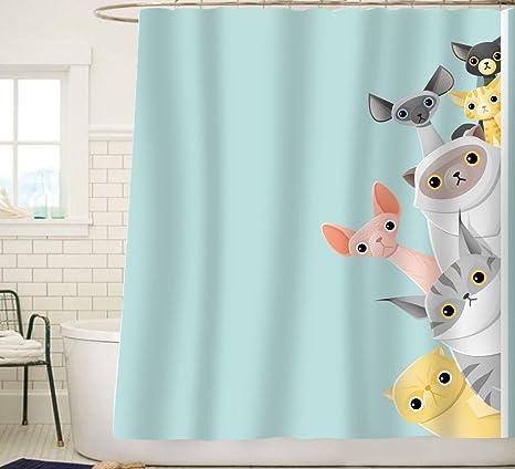 Charmant Sunlit Cute Striped Shorthair Peekaboo Cats Cartoon Shower Curtain For Kids  Cat Lover,Funny Curious