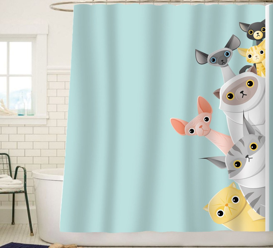 Sunlit Cute Striped Shorthair Peekaboo Cats Cartoon Shower Curtain For Kids Cat LoverFunny Curious