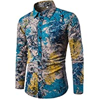 HENGAO Men's Novelty Floral Dress Shirt