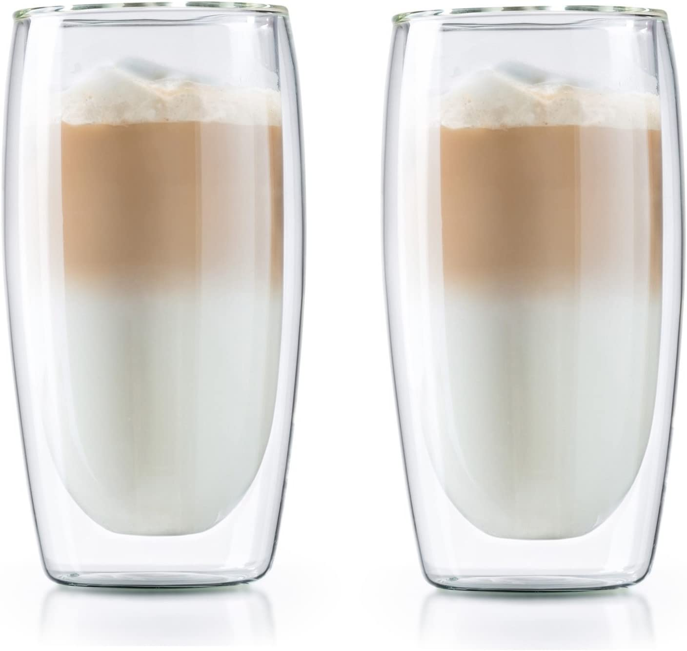 Double Wall Coffee Mug - Set of 2 Borosilicate Insulated Glass Coffee Glasses - Cool to Touch, No Condensation, Dishwasher Safe (12 oz)