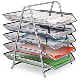 Samstar 5 Tier Stackable Desktop Document Letter Tray Organizer for Office Home, Silver