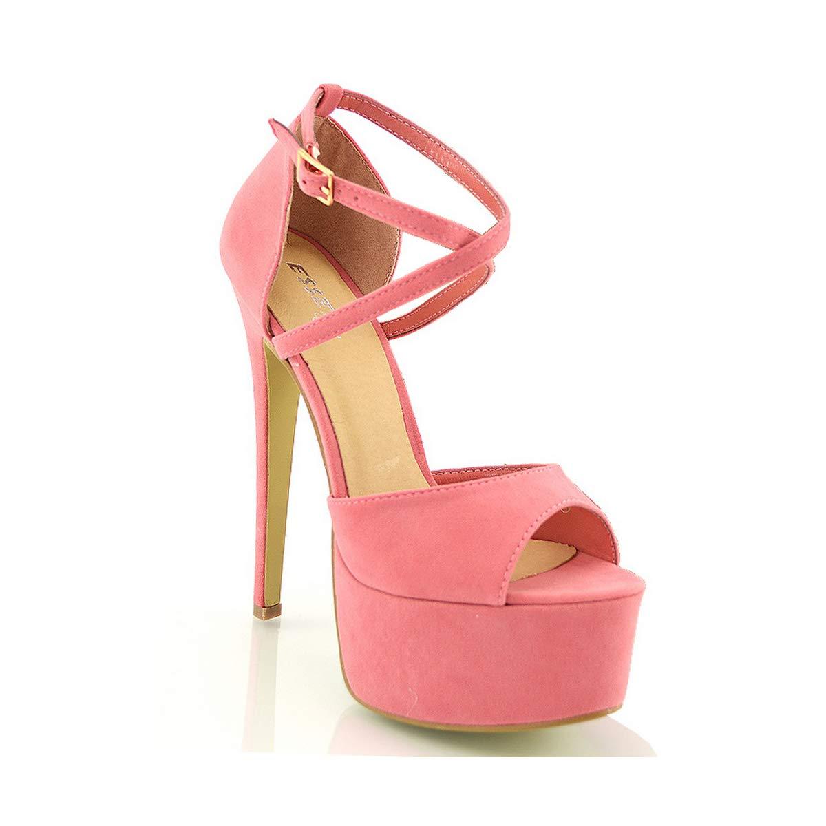 da663d39e8a Womens Platform Strappy Stiletto Ladies High Heel Cross Over Ankle Strap  Sandals Shoes Size 3-8  Amazon.co.uk  Shoes   Bags