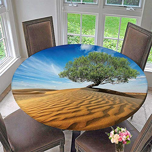 Mikihome Luxury Round Table Cloth for Home use Lonely Tree in The Desert Dunes Over Sand Dramatic Dry But Alive Blue Cream Green for Buffet Table, Holiday Dinner 59