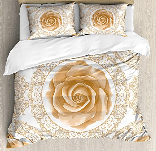 (Floral 4 Piece Bedding Duvet Cover Sets for Kids/Adults/Teens/Children - Queen Luxury Soft Lightweight Brushed Microfiber, Rose Florets with Classic Golden Lace Authentic Feminine Retro Oriental Motif)
