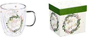 Cypress Home Beautiful Merry Christmas Double Wall Glass Café Cup with Matching Box - 5 x 4 x 5 Inches Indoor/Outdoor home goods For Kitchens, Parties and Homes