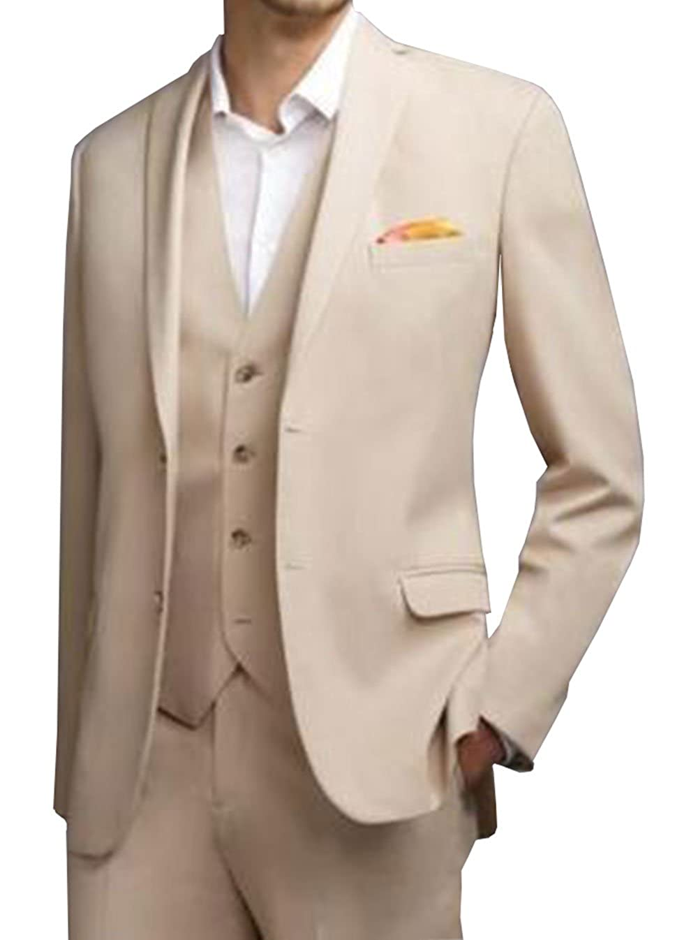 LoveeToo 3-Pieces Men Wedding Groom Tuxedos Formal Blazer Groomsmen Suit Two Buttons ST0025