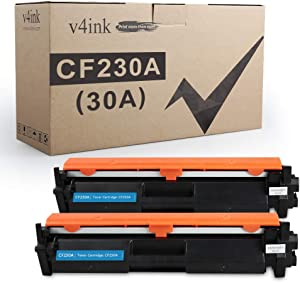 V4INK 2PK Compatible Toner Cartridge Replacement for HP 30A 30X CF230A Toner Black with chip for use in HP Laserjet Pro MFP M227fdw M227fdn M227sdn M227 M203dw M203d M203dn M203 203dw Printer