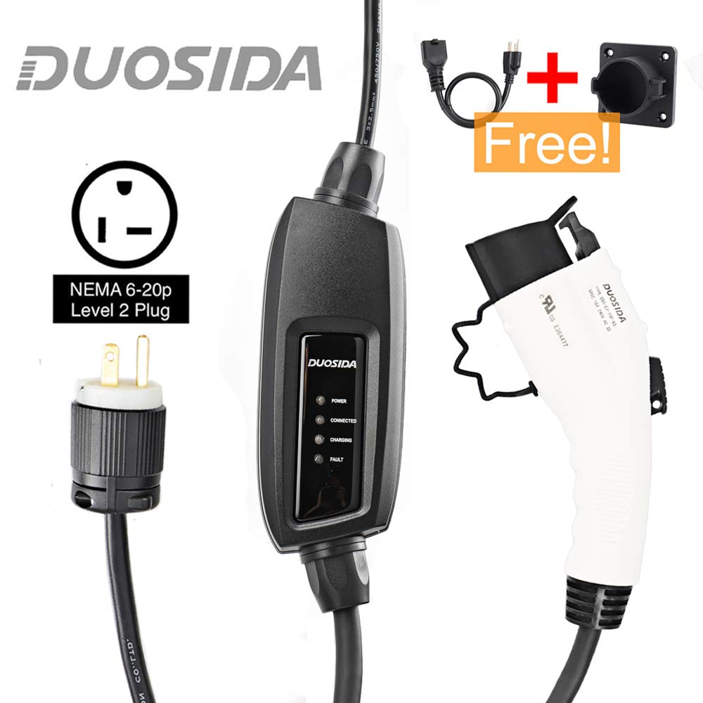 Duosida Sae J1772 Portable Ev Charger Level 2 Evse Wiring As Well Diagram For Nema 6 20p Plug Along With Electric Vehicle Charging Station 240v 16a 28ft Universal Compatibility Free 1 Adapter 5 15p Automotive