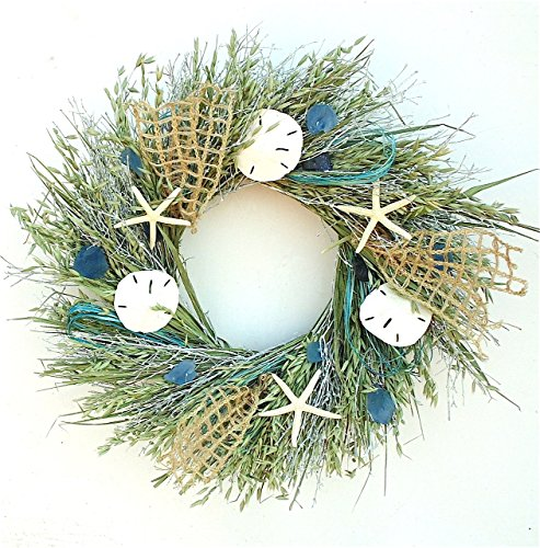 A Summer Beach Stroll Summer Coastal Cottage Wreath Sand Dollars Sea Glass Nets for Home Front Door Kitchen Use Indoors or Outdoors by Wreaths For Door