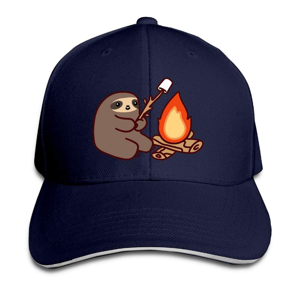 JustQbob1 Campfire Sloth Outdoor Snapback Sandwich Cap Adjustable Baseball Hat Street Rapper Hat