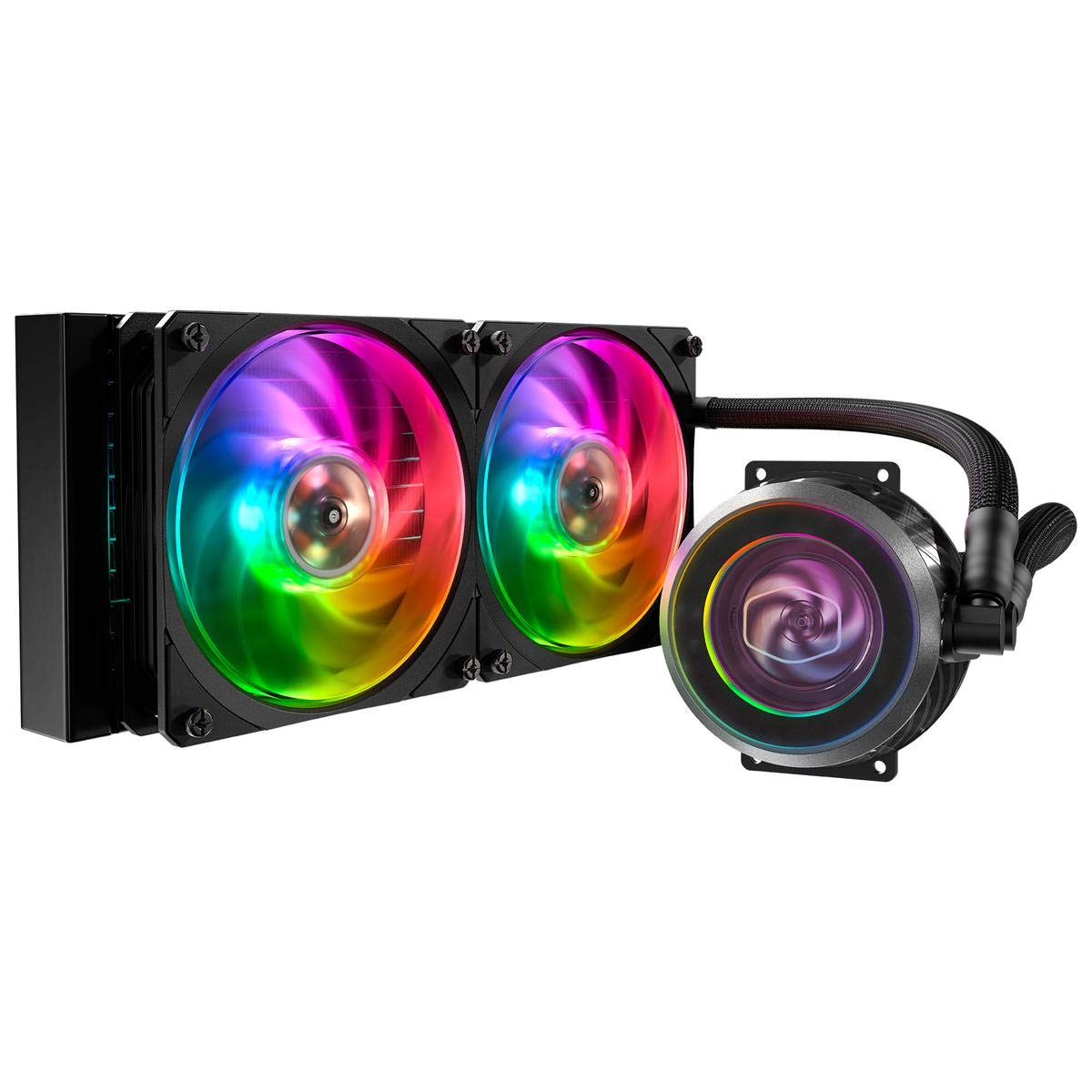 Cooler Master MasterLiquid ML240P Mirage Addressable RGB Close-Loop CPU Liquid Cooler, Transparent Pump, 24 Independently-Controlled LEDs, Dual 120mm Square Fan w/Outer-Ring Connecting Fan Blades by Cooler Master