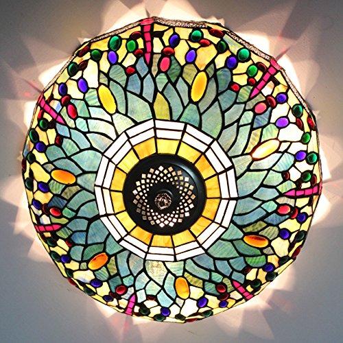Renaissance Flush Mount Ceiling Fixture (ETERN 16-Inch European Retro Style Colourful Beans Stained Glass Flush Mount Ceiling Light Dining Room Light)