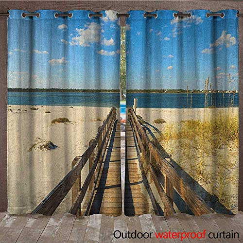 BlountDecor Beach Grommet Curtain Panel Perdido Beach and Long Pier Deck Over Sand Gulf of Mexico South America Resort ThemeW120 x L96 Cream Blue (Lighted Right Pier)