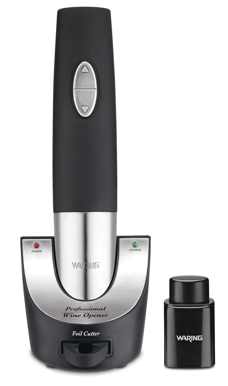 Waring Pro WO50B Cordless Wine Opener with Vacuum Sealer and Foiler Cutter, Black