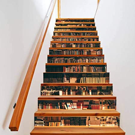 MEIMEIDA 3D Pegatinas de Escaleras, Estante para Libros Impresión Modelo Bricolaje Mural PVC Impermeable Casa Oficina Bar Interior Decoración de Escaleras Etiqueta Steic Sticke A-10 * 18cm*13pcs: Amazon.es: Hogar