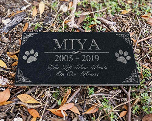 You Left Paw Prints on Our Hearts Pet Memorial Stones Personalized Headstone Grave Marker Absolute Black Granite Garden Plaque Engraved with Dog Cat Name Dates