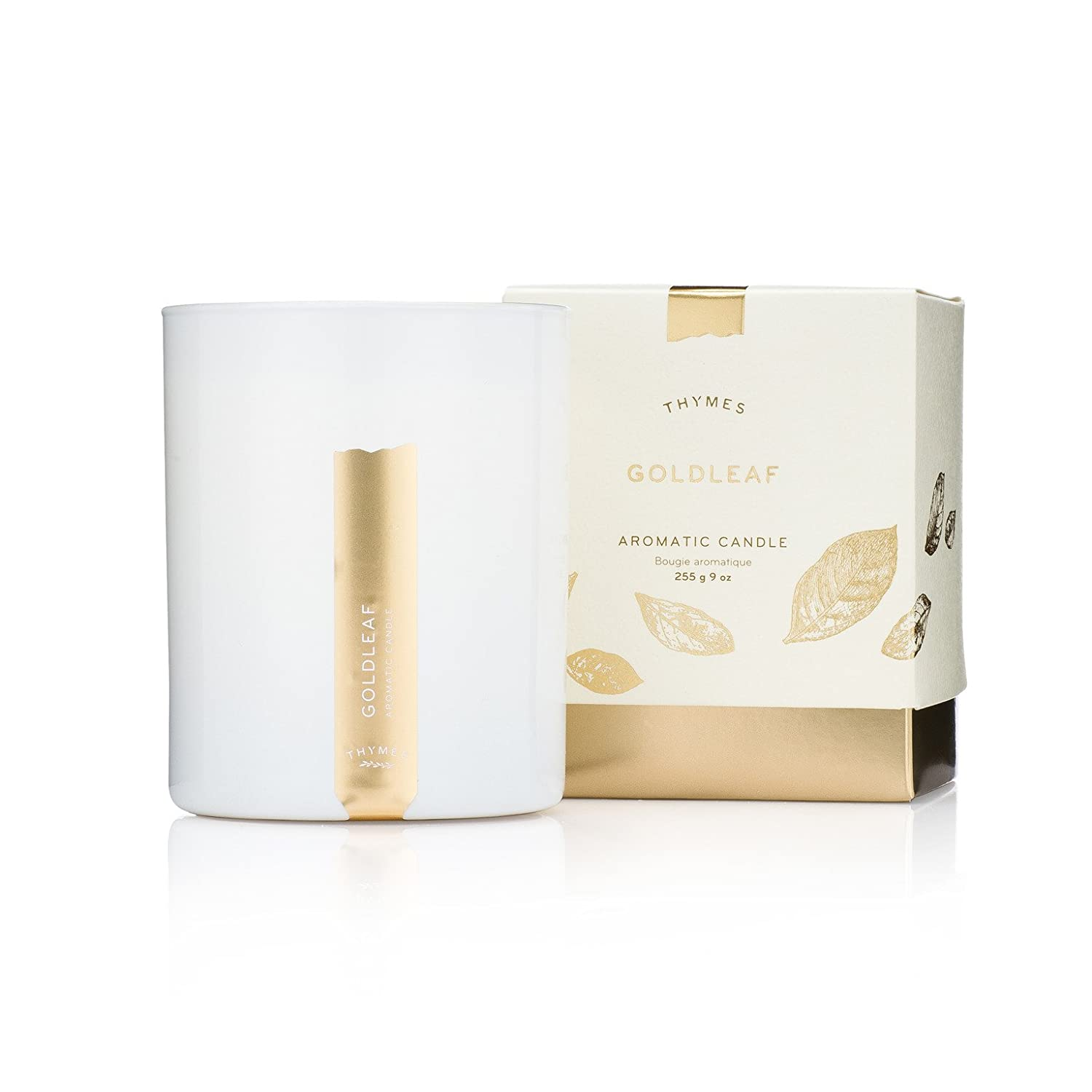 Thymes - Goldleaf Aromatic Scented Candle - Long Lasting Elegant Floral Scent with Gift Box - 9 oz