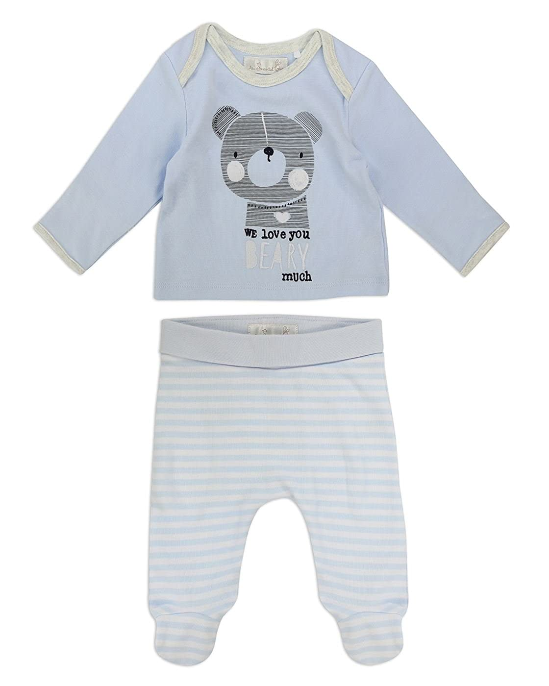 The Essential One Baby Boys Bear Top and Legging Set - Blue - TESS13