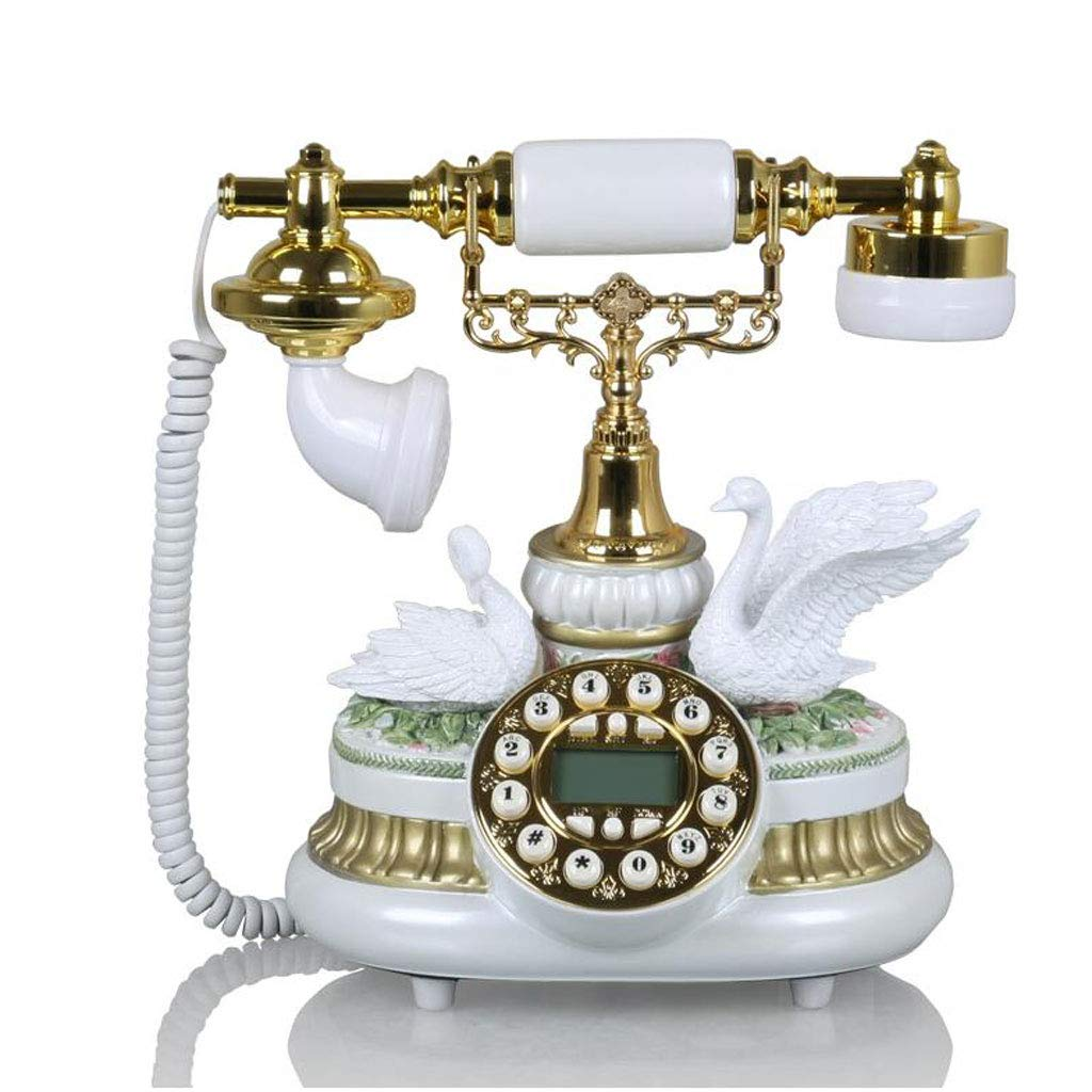 LCM Retro Phone White Resin Metal Button Dial Animal Shape Decoration Pastoral Fashion Creative Seat European Home Office by LCM