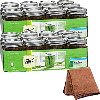Hydrofarm Ball 0.5 qt. Canning jar (Set of 24) Lids and bands for preserving food (16 OZ) with Cleaner Cloth