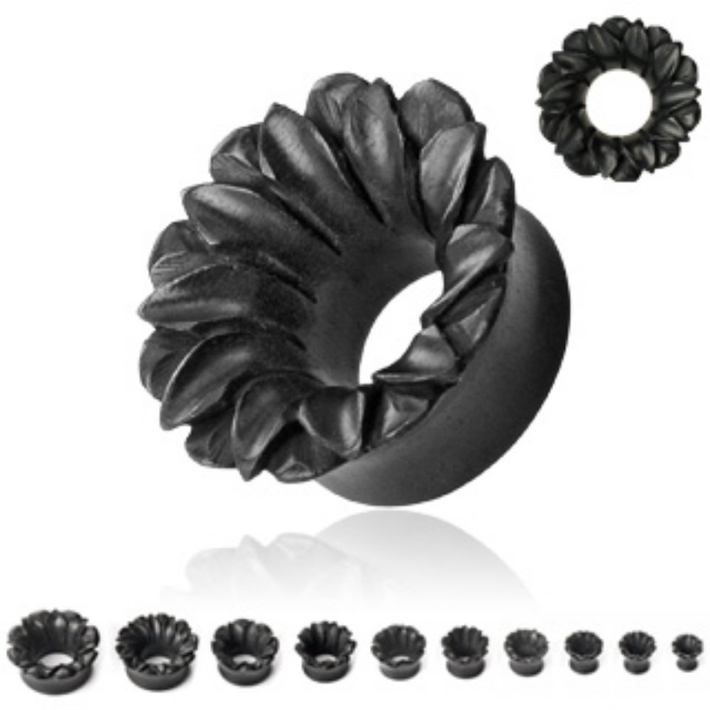 Freedom Fashion Lotus Organic Hand Carved Black Areng Wood Tunnel Plugs Sold by Pair
