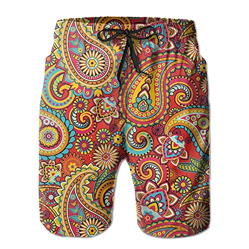 Paisley Mens Shorts (Male Floral Paisley Pattern Hawaii Tropical Stretch Quick Dry Beach Shorts Shorts With Pockets)