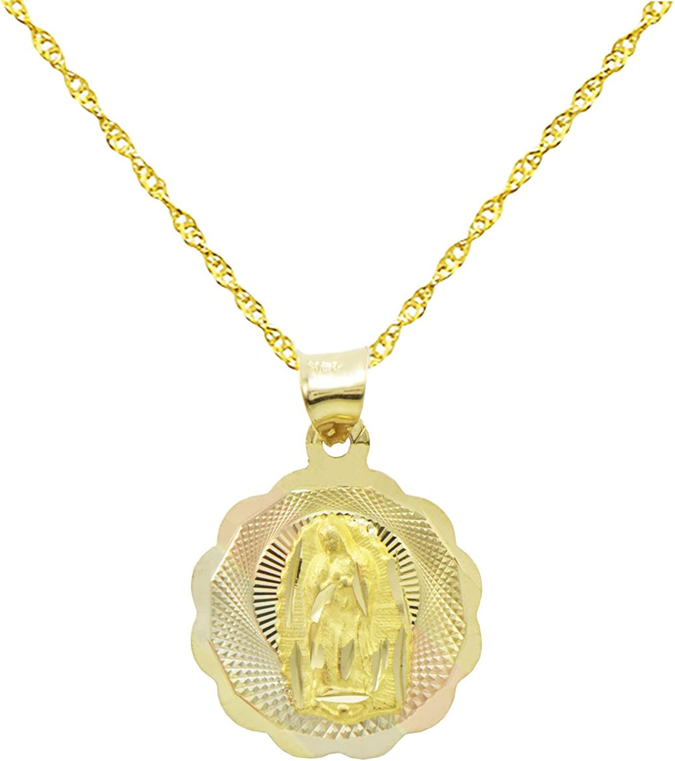 14K Tri-Color Gold Virgin Mary Guadalupe Charm Pendant 0.8 inches