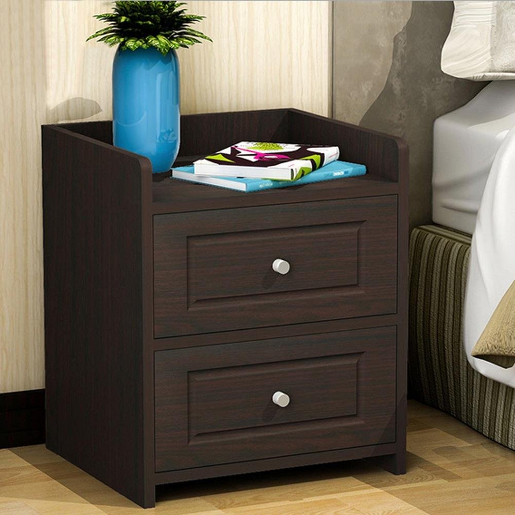 Vanpower Shabby Wood Bedside Tables Cabinets 2 Storage Drawers Black