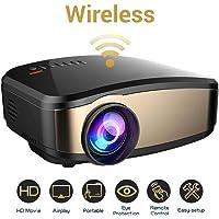 TLgf Proyector de vídeo WiFi, Weton 50% más Brillante película inalámbrica proyector 1080P HD LED portátil Mini proyector Smartphone Home Theater proyectores, Soporte HDMI USB VGA AV SD