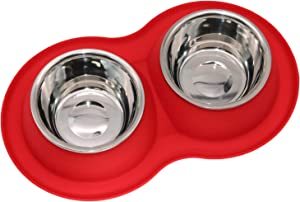 Pet Dog Bowls 2 Stainless Steel Dog Bowl with No Spill Non-Skid Silicone Mat + Pet Food Scoop Water and Food Feeder Bowls for Feeding Small Medium Large Dogs Cats Puppies
