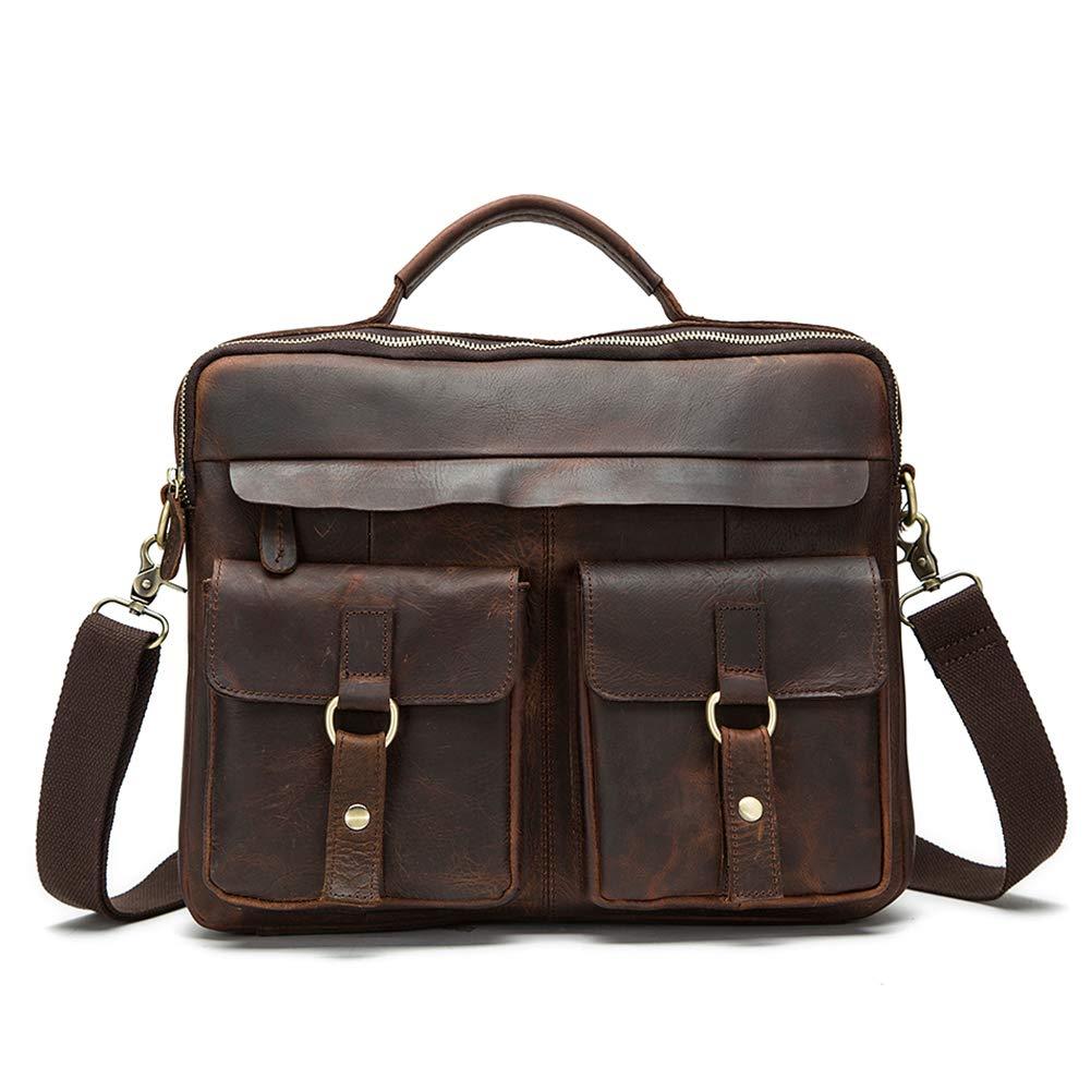 YZ-Hb Leather Shoulder Large Capacity Bag Retro Office Business Briefcase College Messenger Bag Handbag for Men