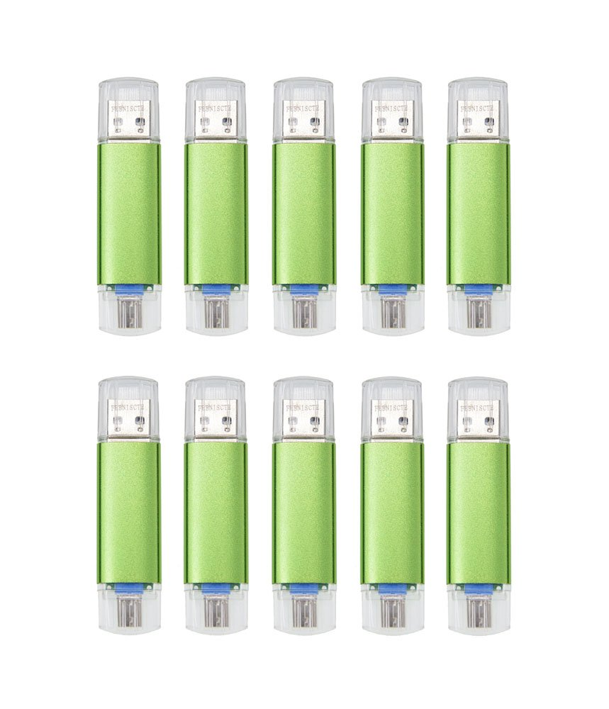 FEBNISCTE 10pcs 16GB Green Micro USB 3.0 OTG Memory Stick for Android Smartphone/Tablet /PC