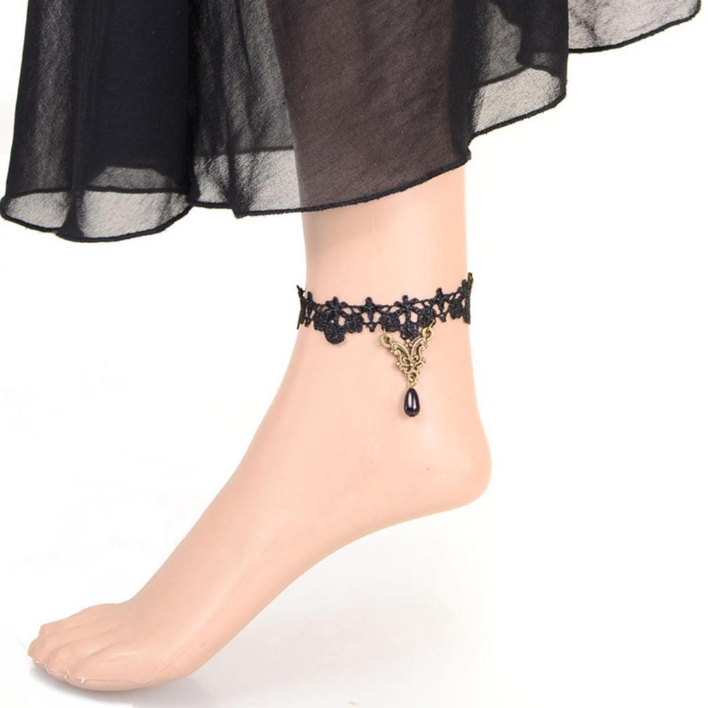 GYJUN Bijoux de Corps/Bracelet de cheville Chaîne de Corps Dentelle Vintage Noir 1pc one size GYJUN bracelet cheville
