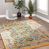 Modern Weave Bright Distressed Traditional Vintage Persian Floral Orange Beige Blue 8x10 (7'10'' x 9'10'') Area Rug