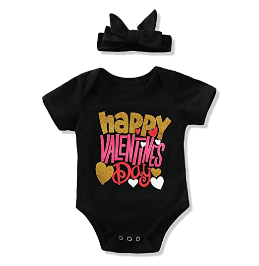 8a08bf5924c Amazon.com  YOUNGER TREE Happy Valentine s Day Newborn Baby Girls Boys  Short Sleeve Heart Romper Spring Bodysuit Clothes  Clothing